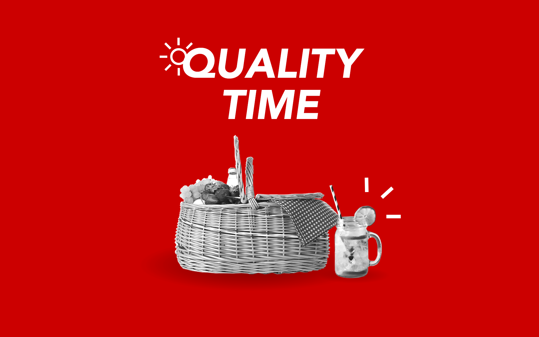 "A black and white image of a picnic hamper and a drink in a mason jar on a red background with the text ""Quality time"""