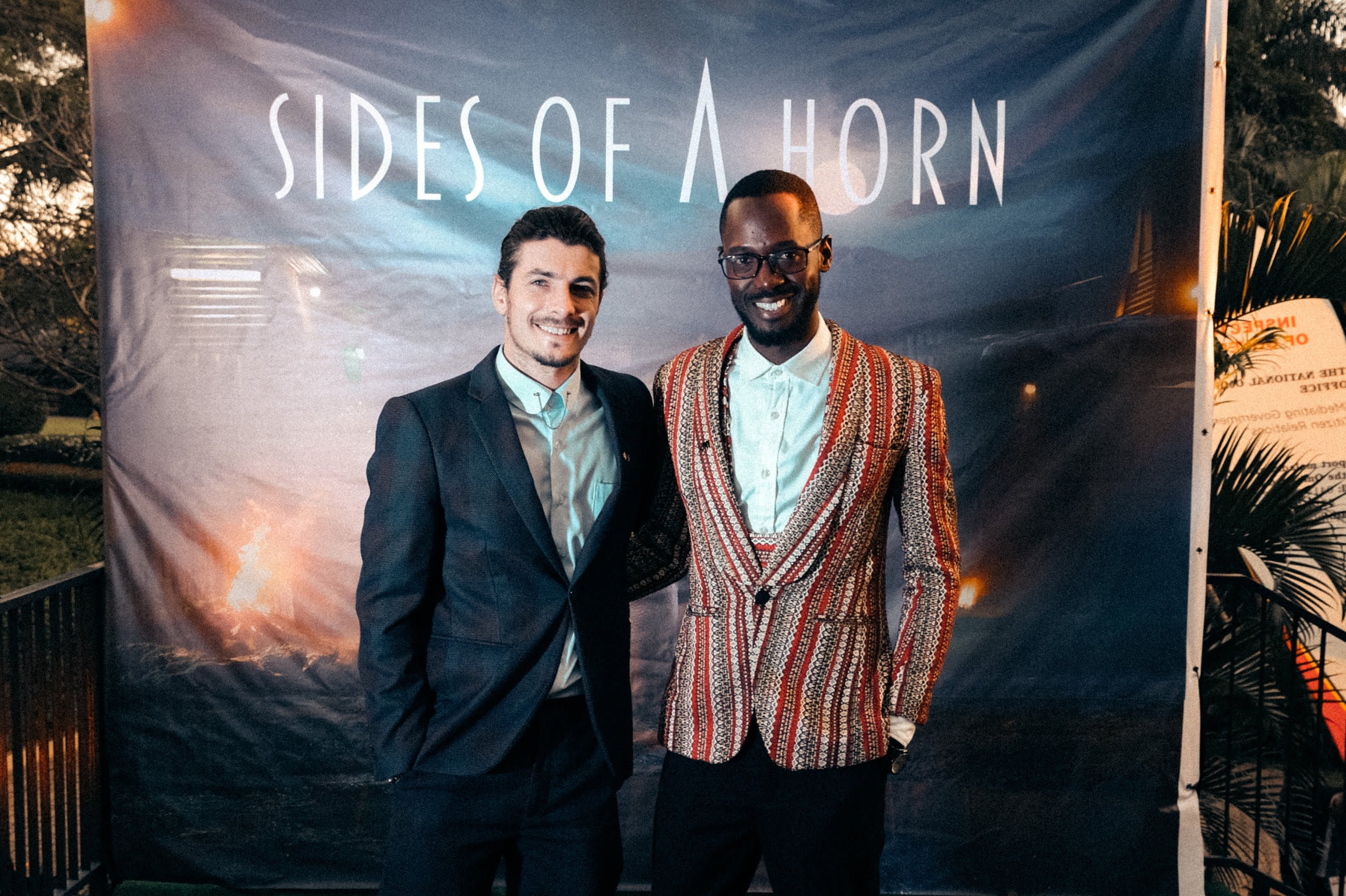 Toby Wosskow with Shaban Senyange at the premiere of Sides of a Horn