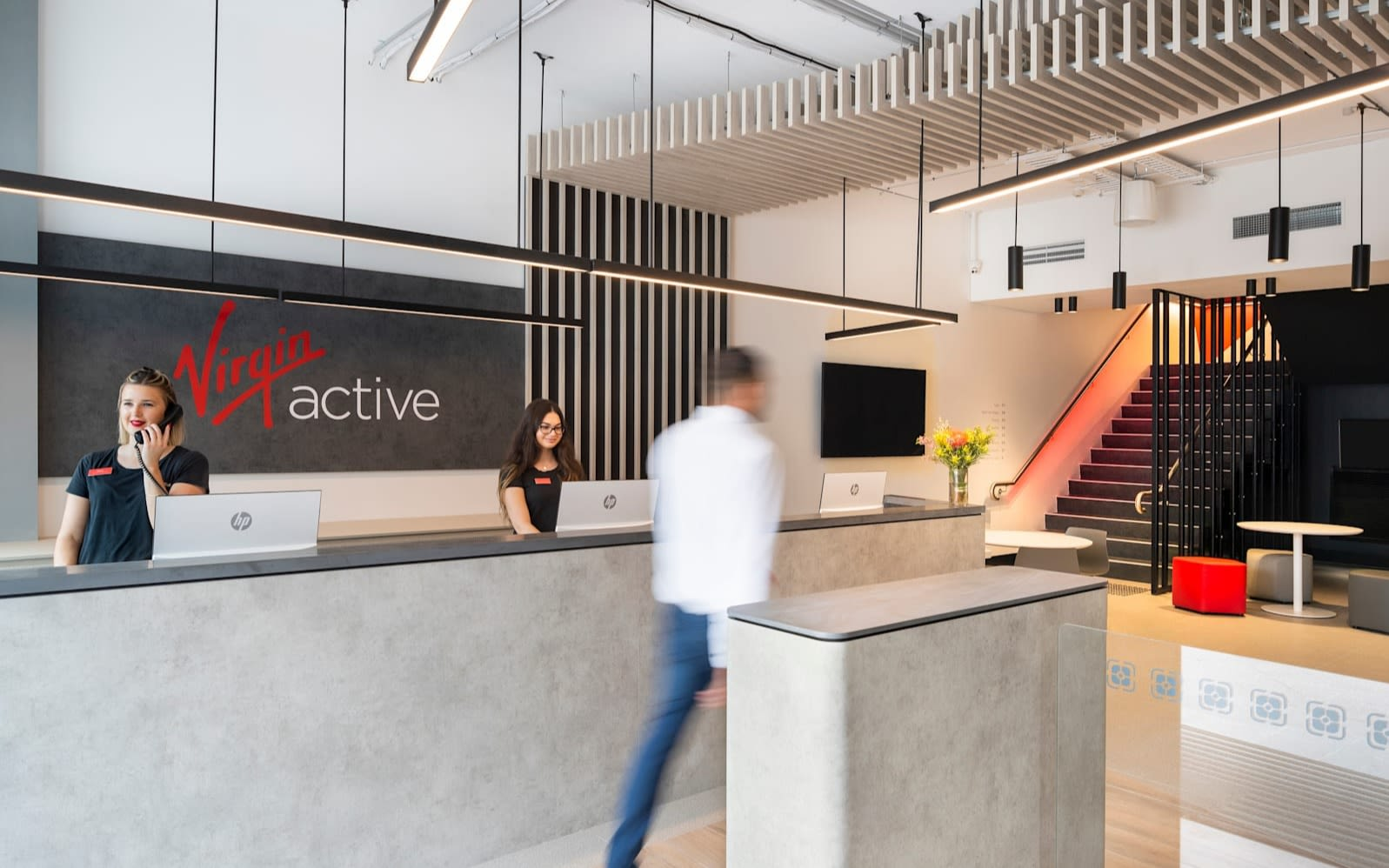 Virgin Active Australia Reception - two ladies at front desk