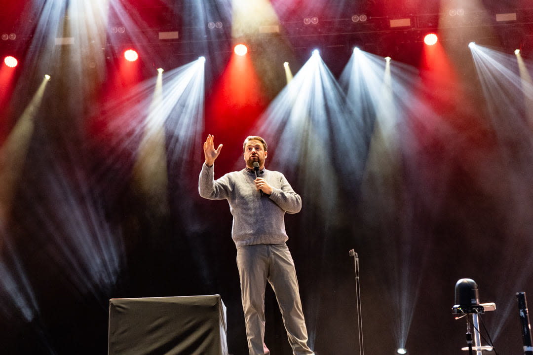 Jason Manford on stage at the Virgin Money Unity Arena