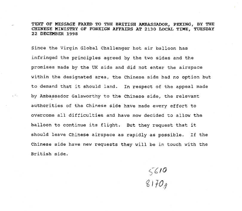 The text of a message faxed to the British Ambassador in Peking by the Chinese Ministry of foreign affairs on 22 December 1998 about the Virgin Global Challenger