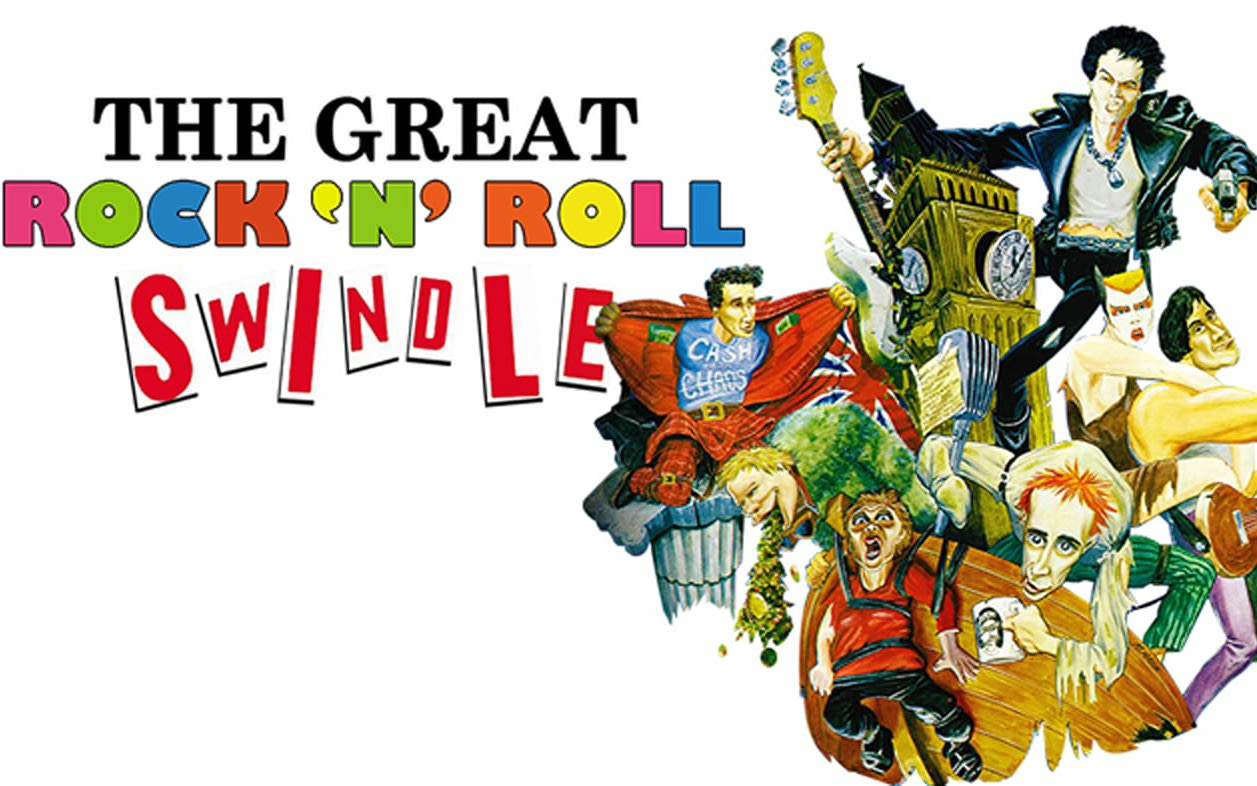The image from the film 'The great rock 'n' roll swindle', with the title written next to drawings of people, a guitar and Big Ben.