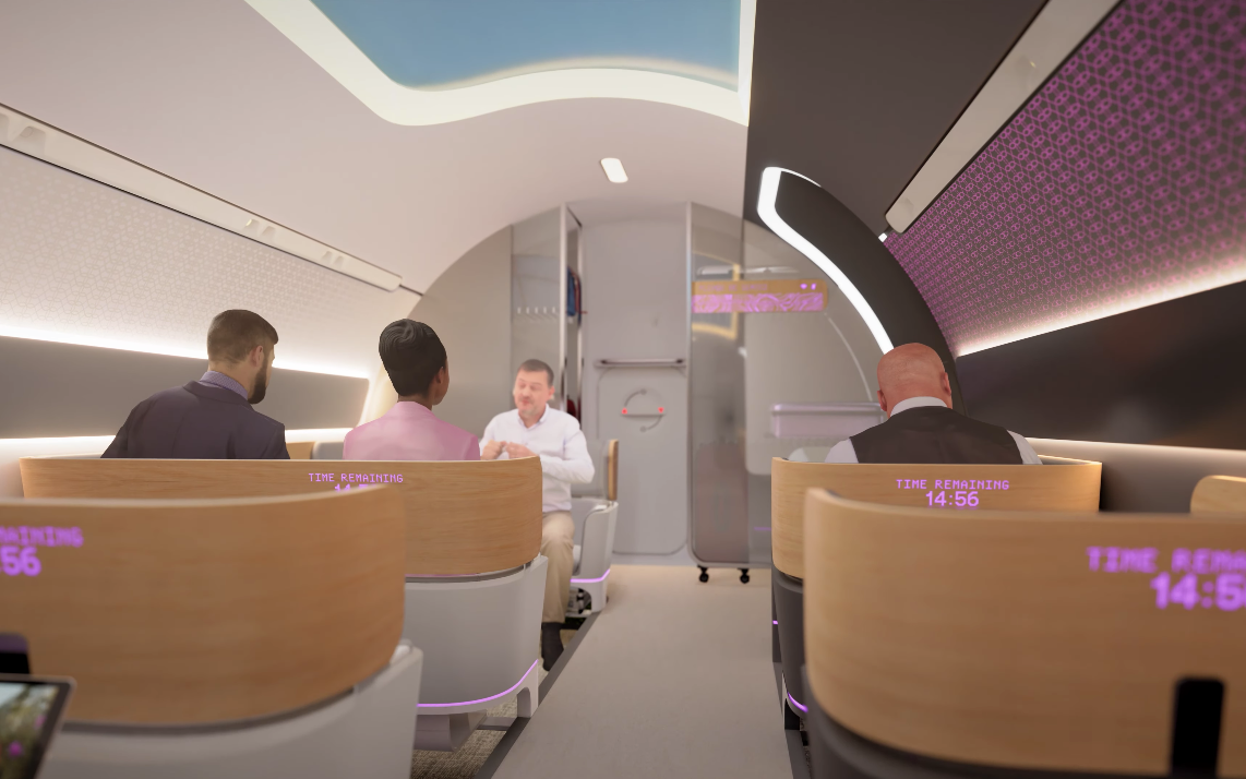 A rendering of what a journey on Virgin Hyperloop would look like