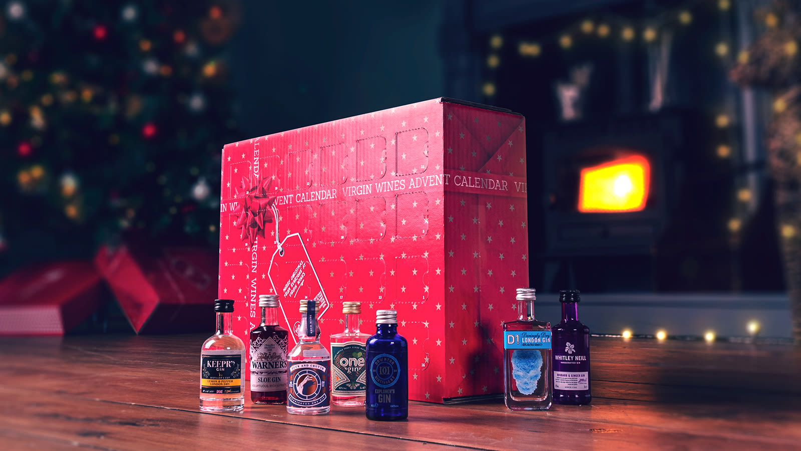 A red Virgin Wines advent calendar with seven small bottles of gin