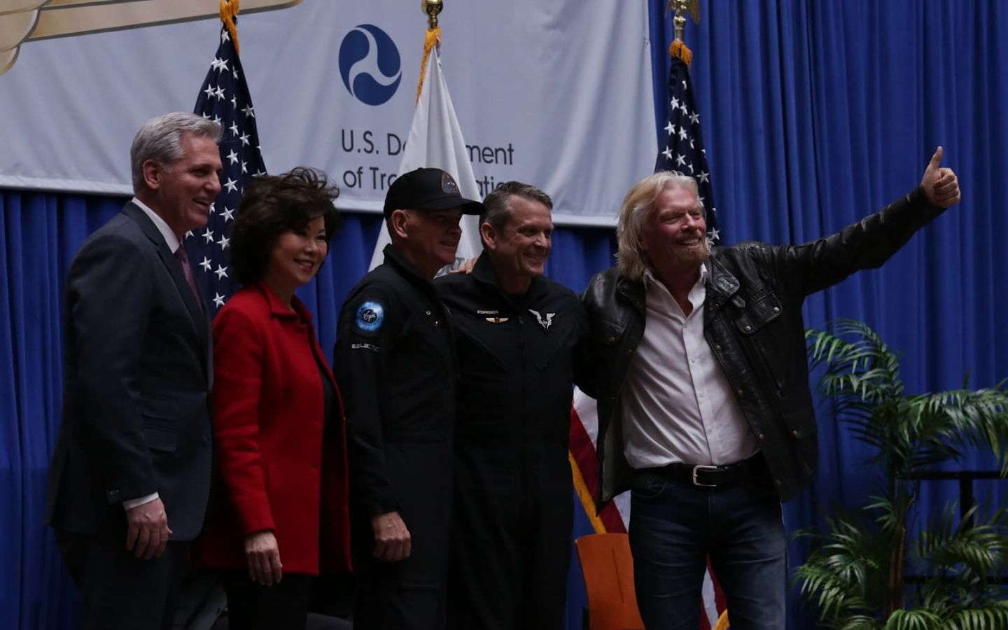 Virgin Galactic pilots Rick 'CJ' Sturckow and Mark 'Forger' Stucky receive their commercial astronaut wings