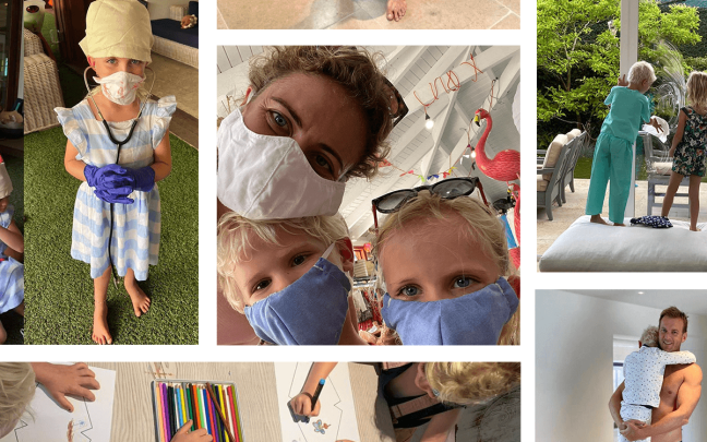 Holly Branson shares a selfie with her children - all wearing face masks