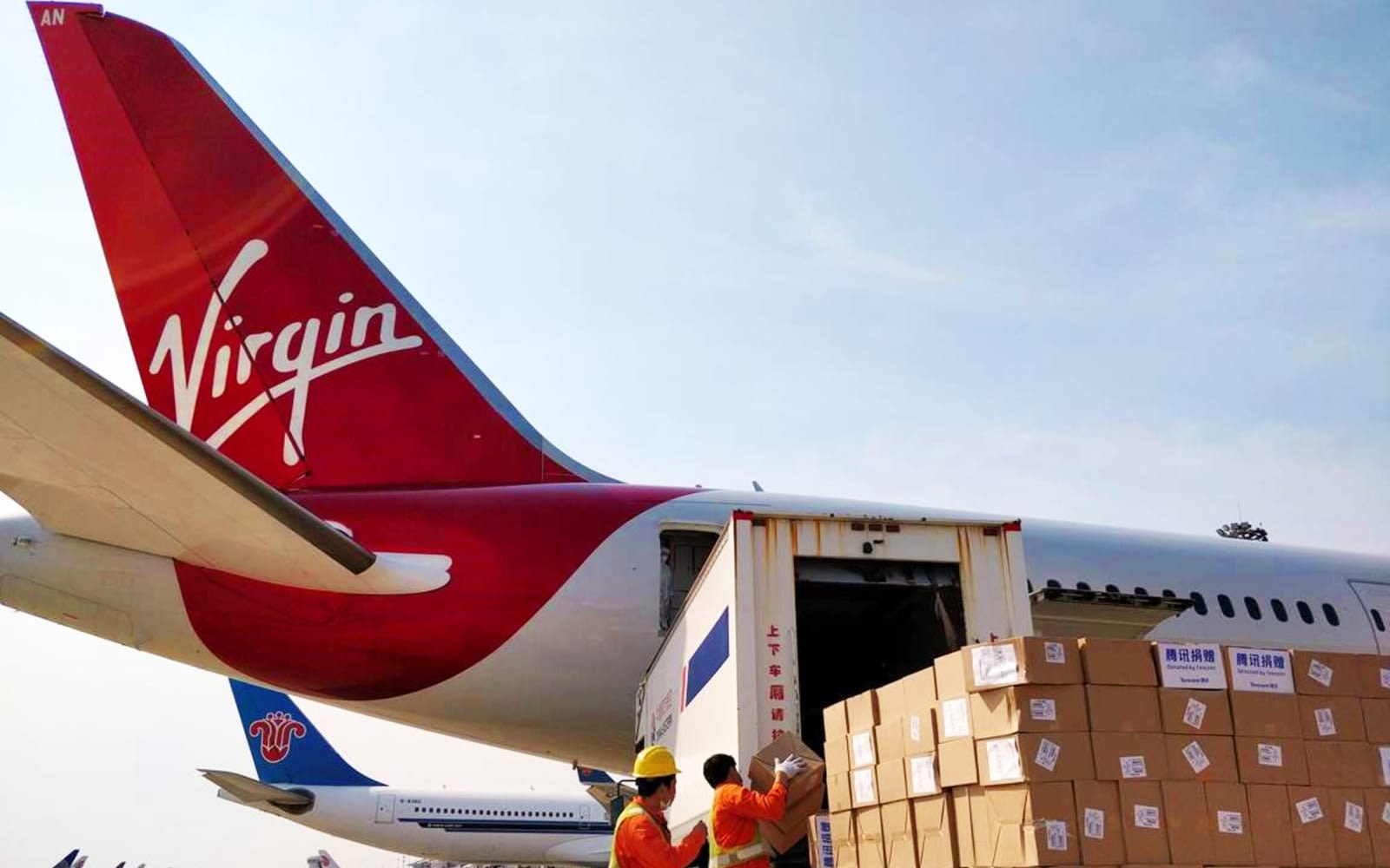 Cargo load onto Virgin Atlantic aircraft