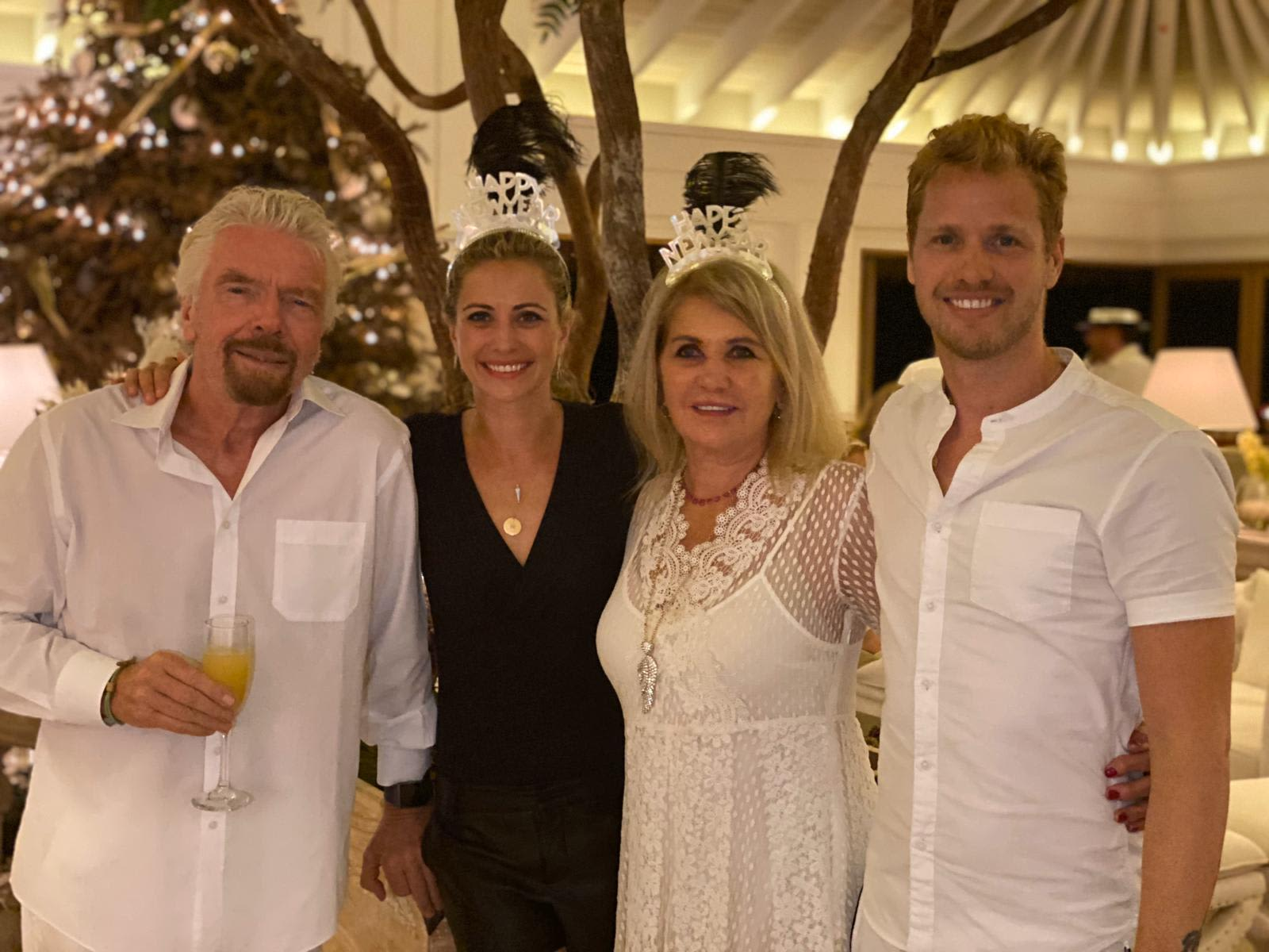 Richard Branson with the family on New Year's Eve