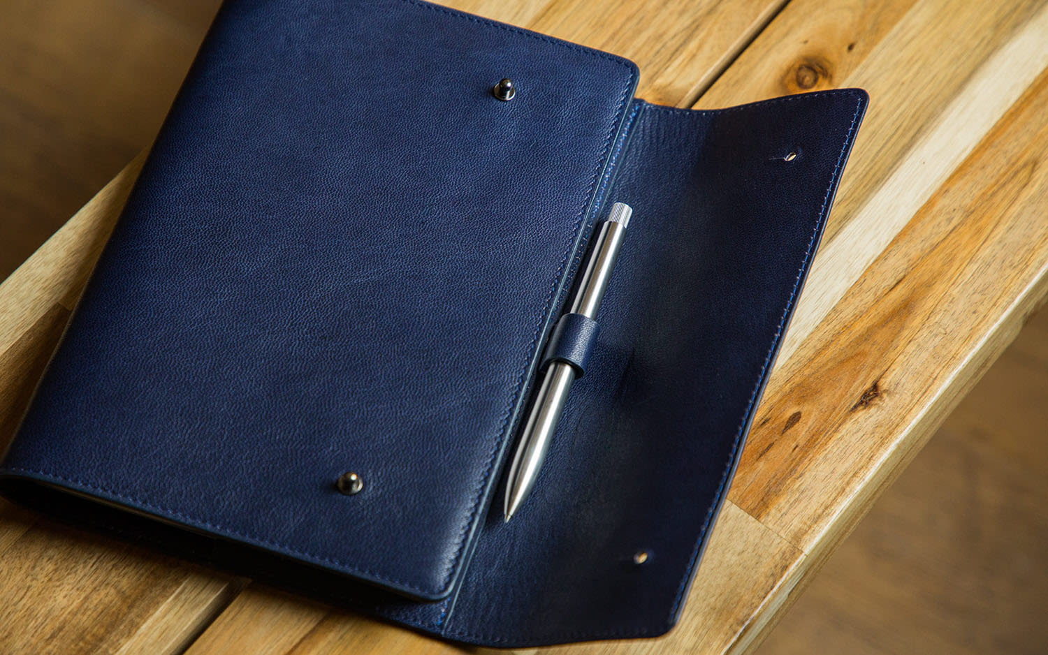 A blue leather notebook
