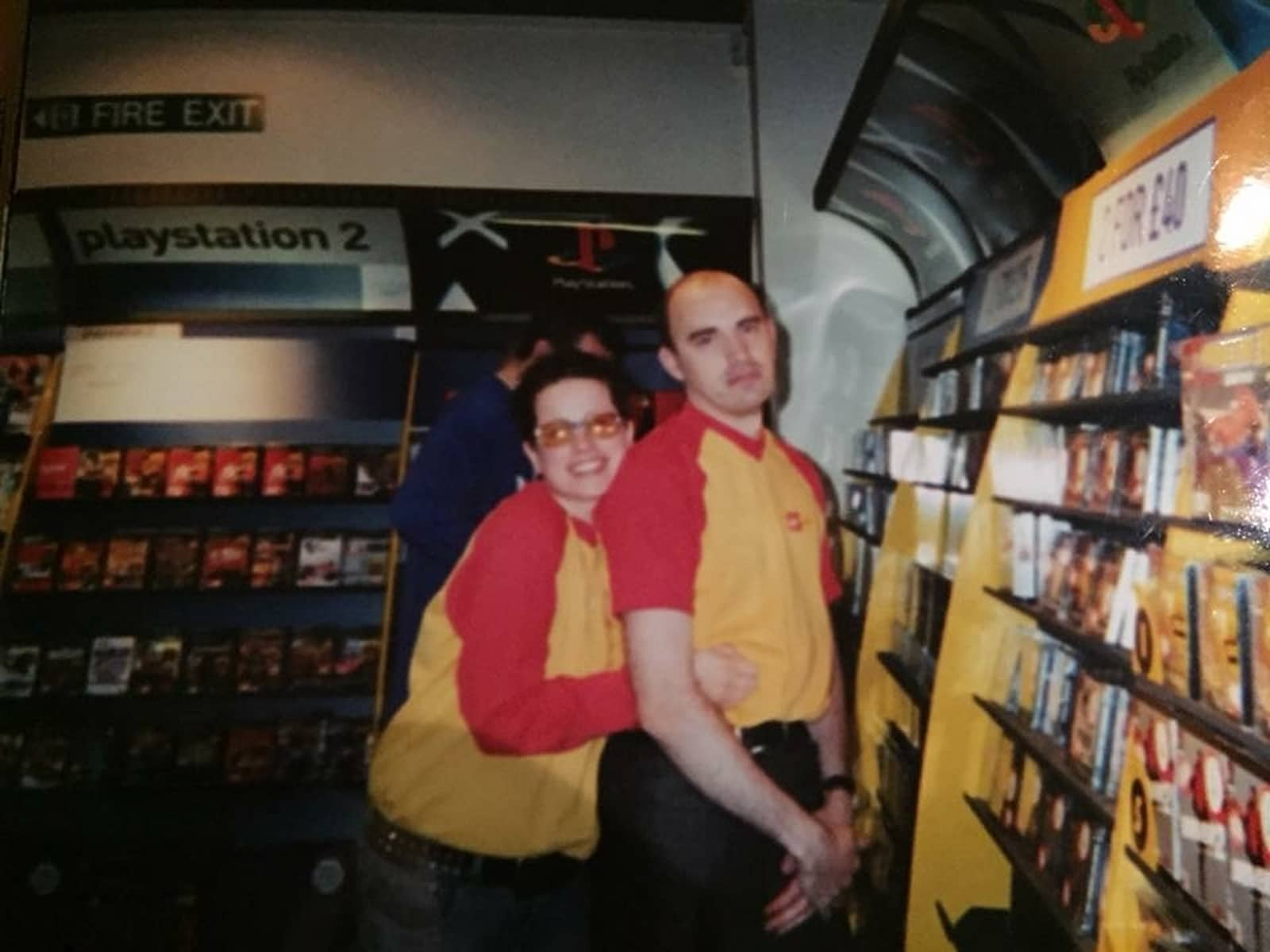 A young Vic Whitehouse with another employee in an old Virgin Megastores shop