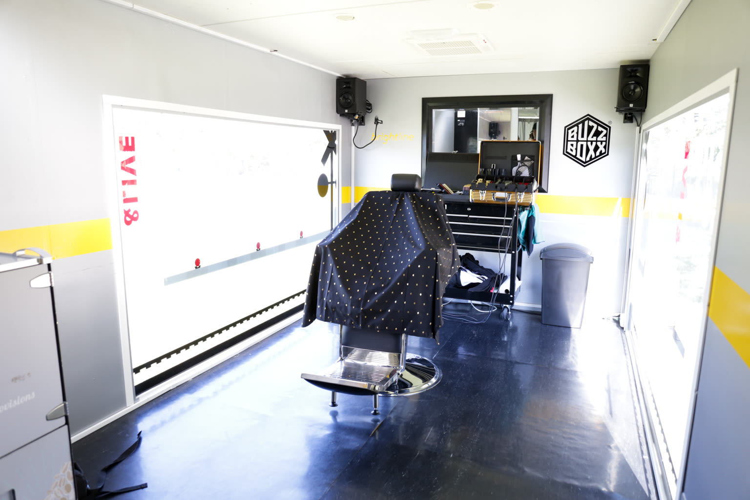A barber's chair in Buzz Boxx