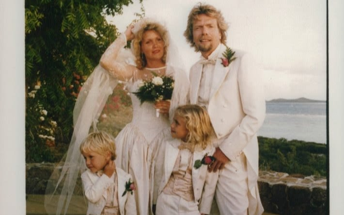 Richard Branson and wife Joan on their wedding day with children Holly and Sam