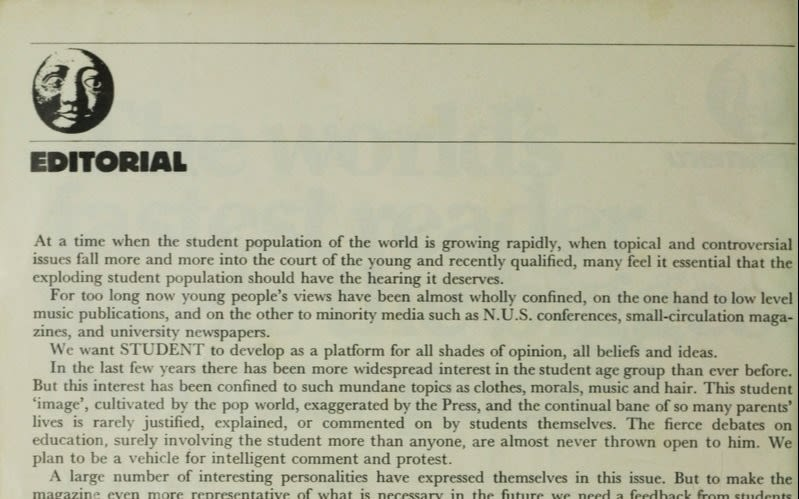 Richard Branson's editorial in an issue of Student Magazine