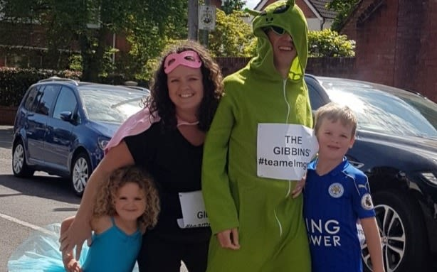 Matt Thomas' neighbours dress up to take part in the neighbourhood marathon
