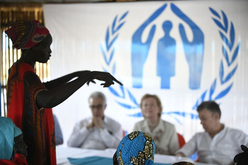 Woman speaking to group at UNHCR event in Ethiopia