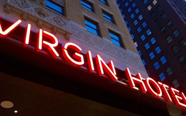 Virgin Hotels sign outside Virgin Hotels Chicago