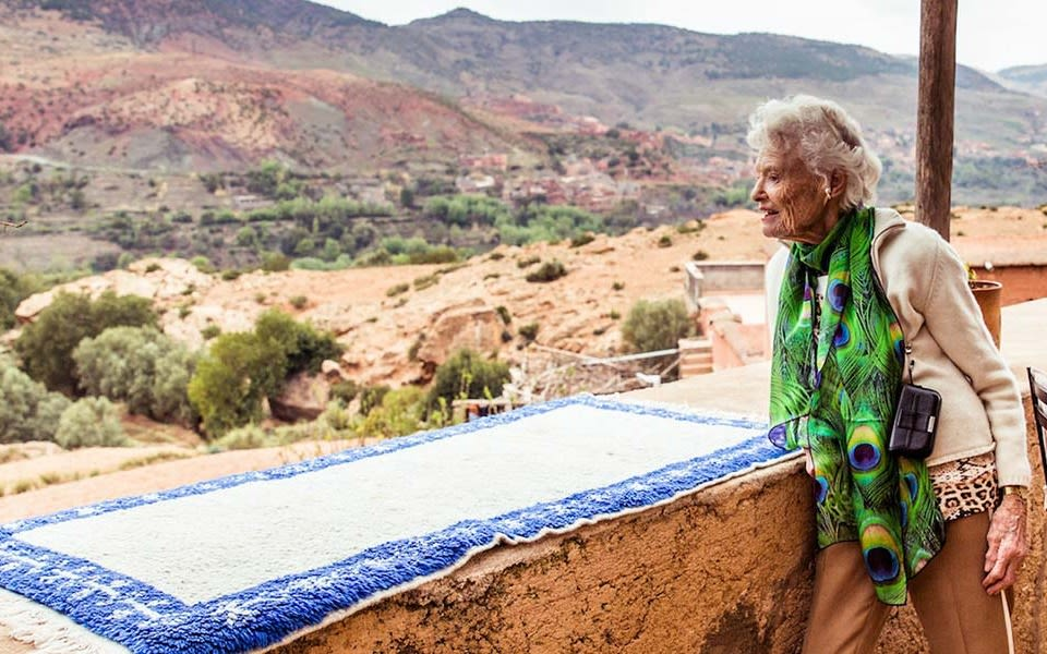 Eve Branson looks over a valley at one of the Eve Branson Foundation crafthouses in Morocco