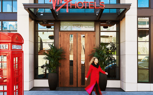 The entrance to Virgin Hotels San Francisco