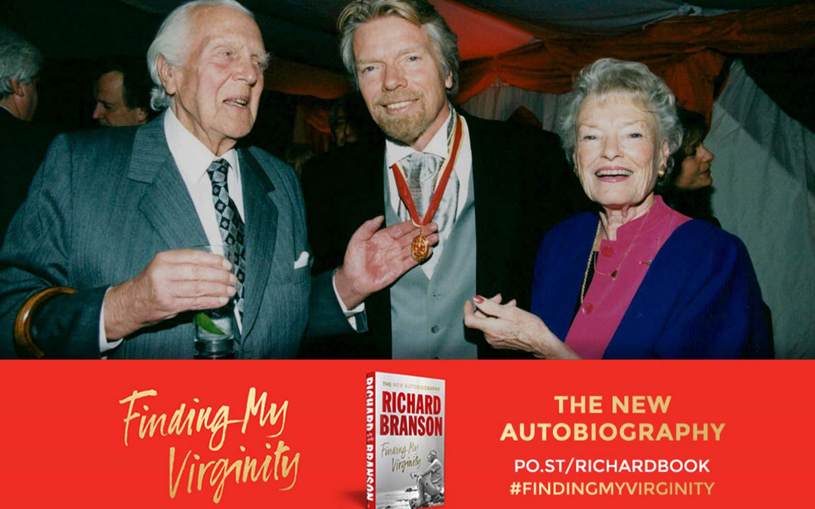 promo post for Finding My Virginity. Richard stands with Eve and Ted Branson