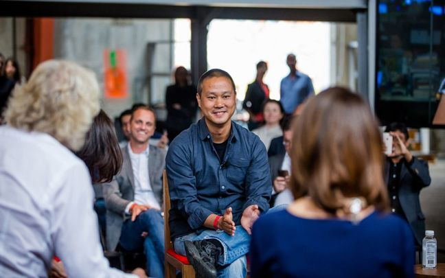 Tony Hsieh on stage at Disruptors