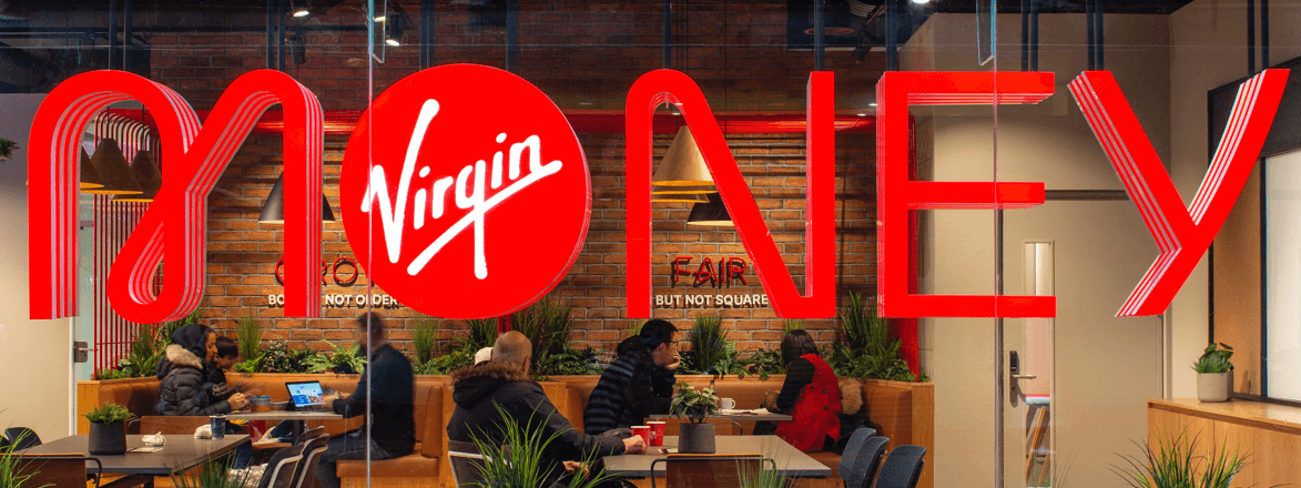 Virgin Money sign at Birmingham Virgin Money Lounge