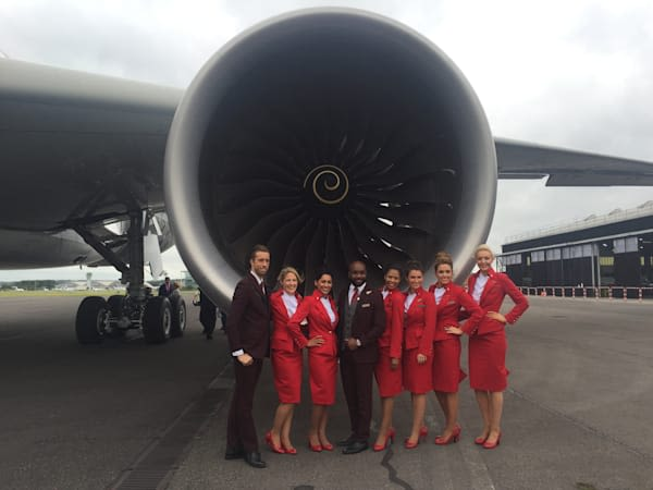 Virgin Atlantic crew members standing in front of an A350 aircraft in 2016