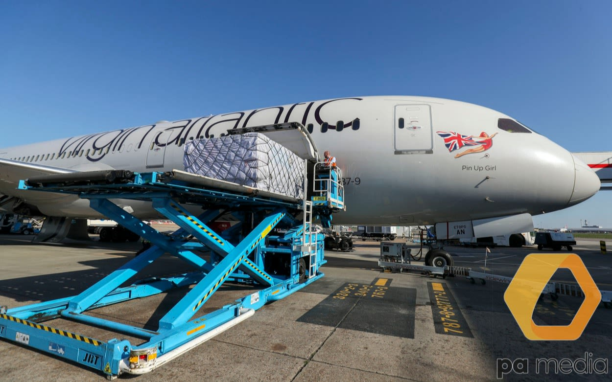 Cargo is loaded onto a Virgin Atlantic Boeing 787-9