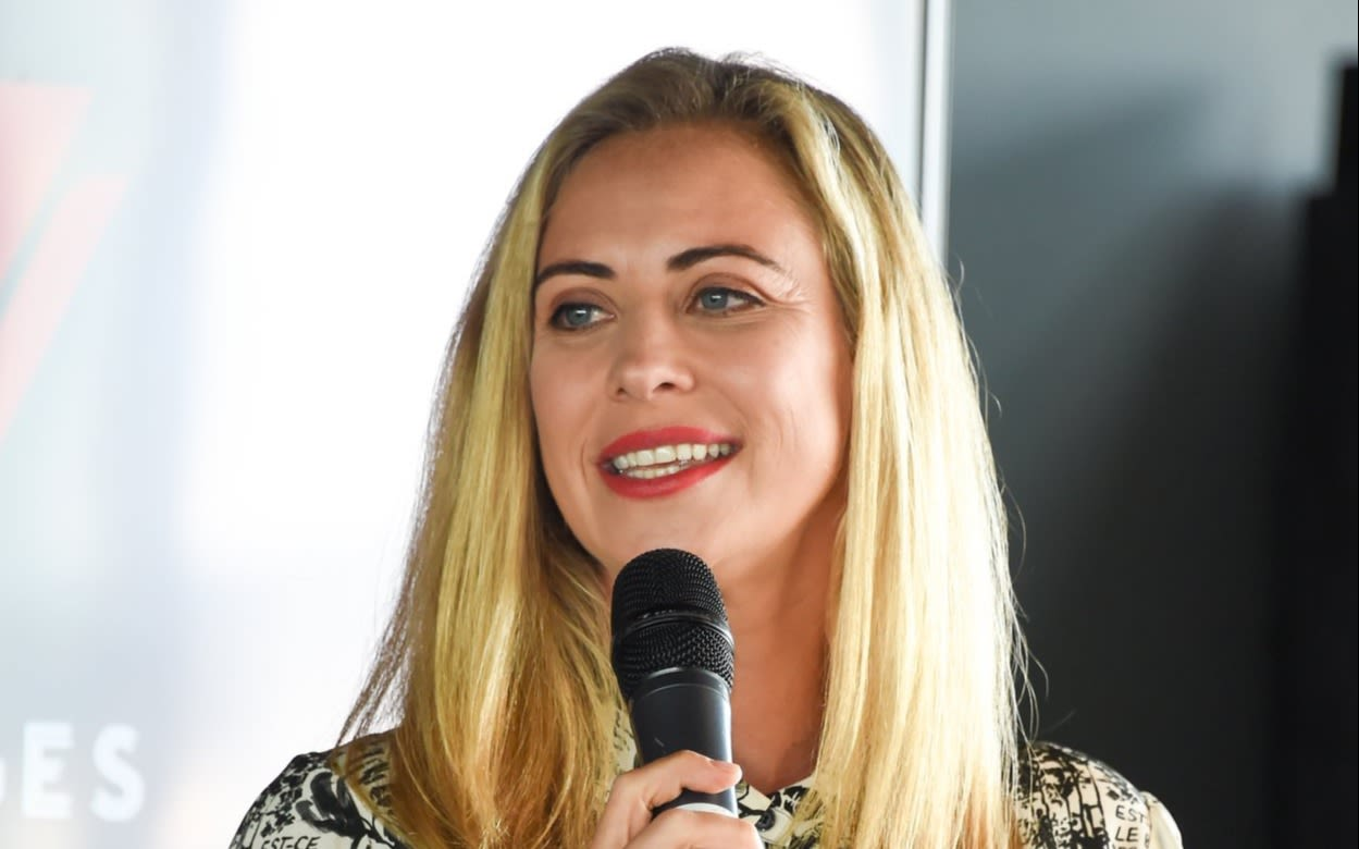 Holly Branson speaking at a press conference