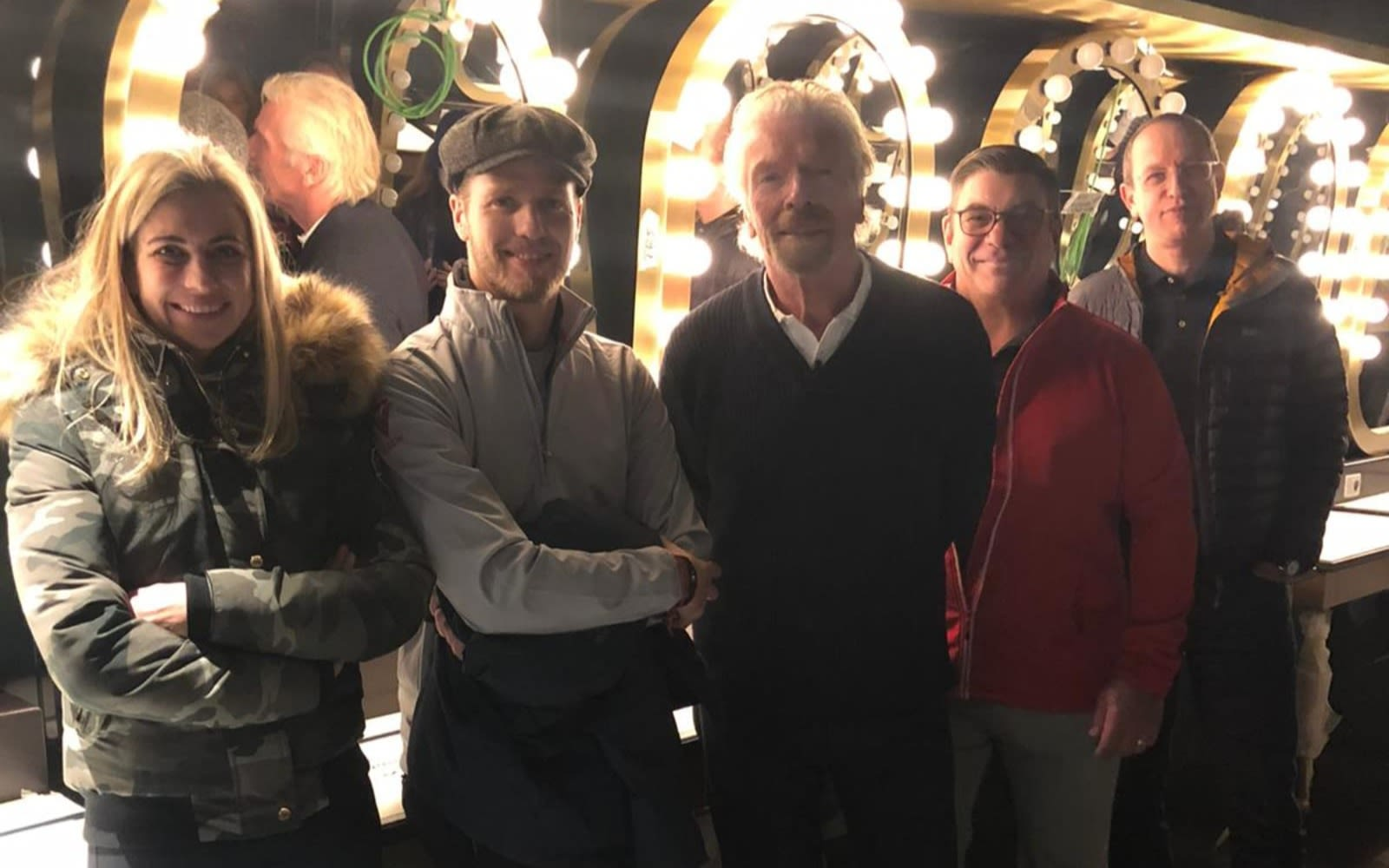 Richard Branson with Holly, Sam and Tom McAlpin and Shai Weiss onboard Scarlet Lady