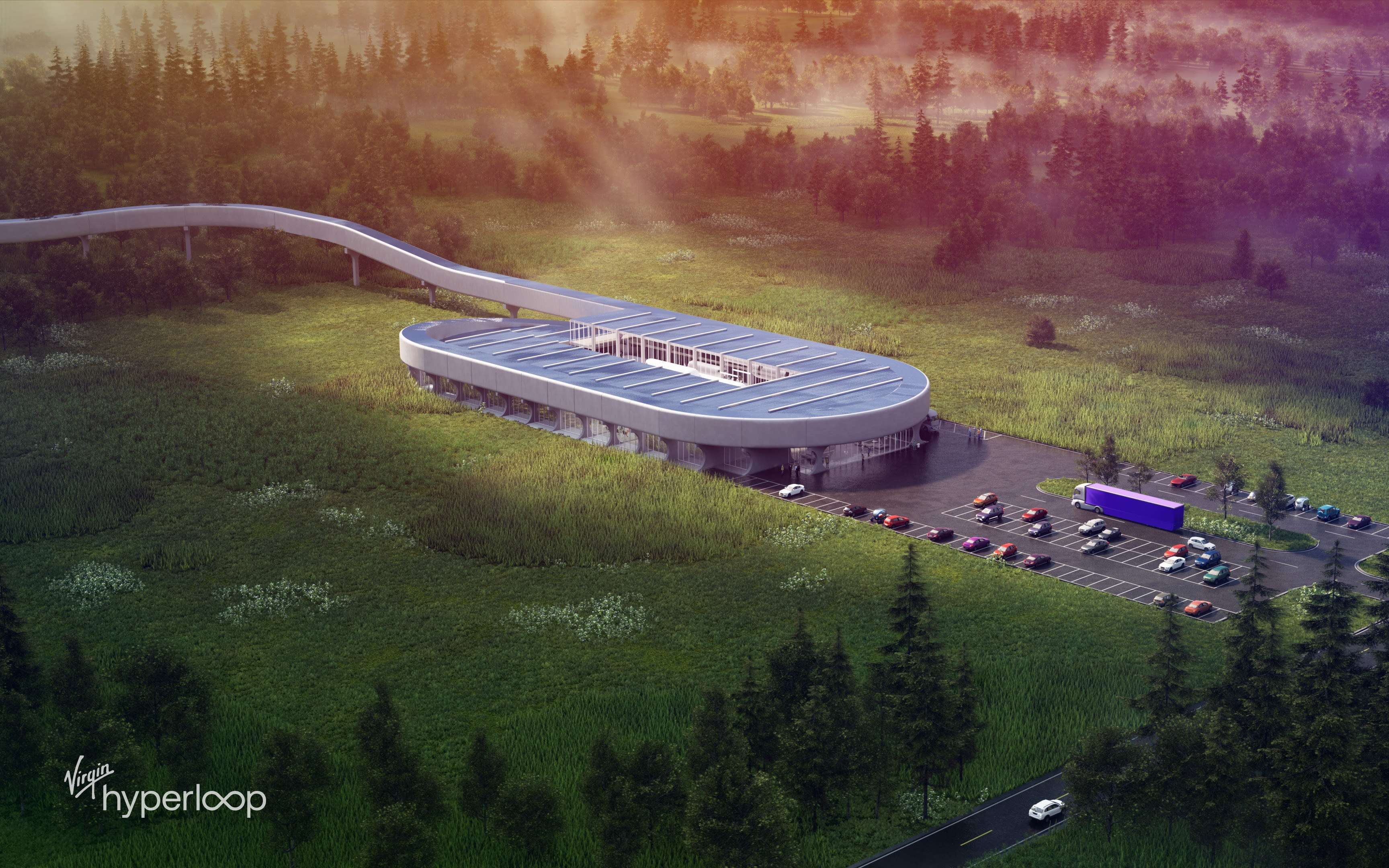 A rendering of the Hyperloop Certification Center