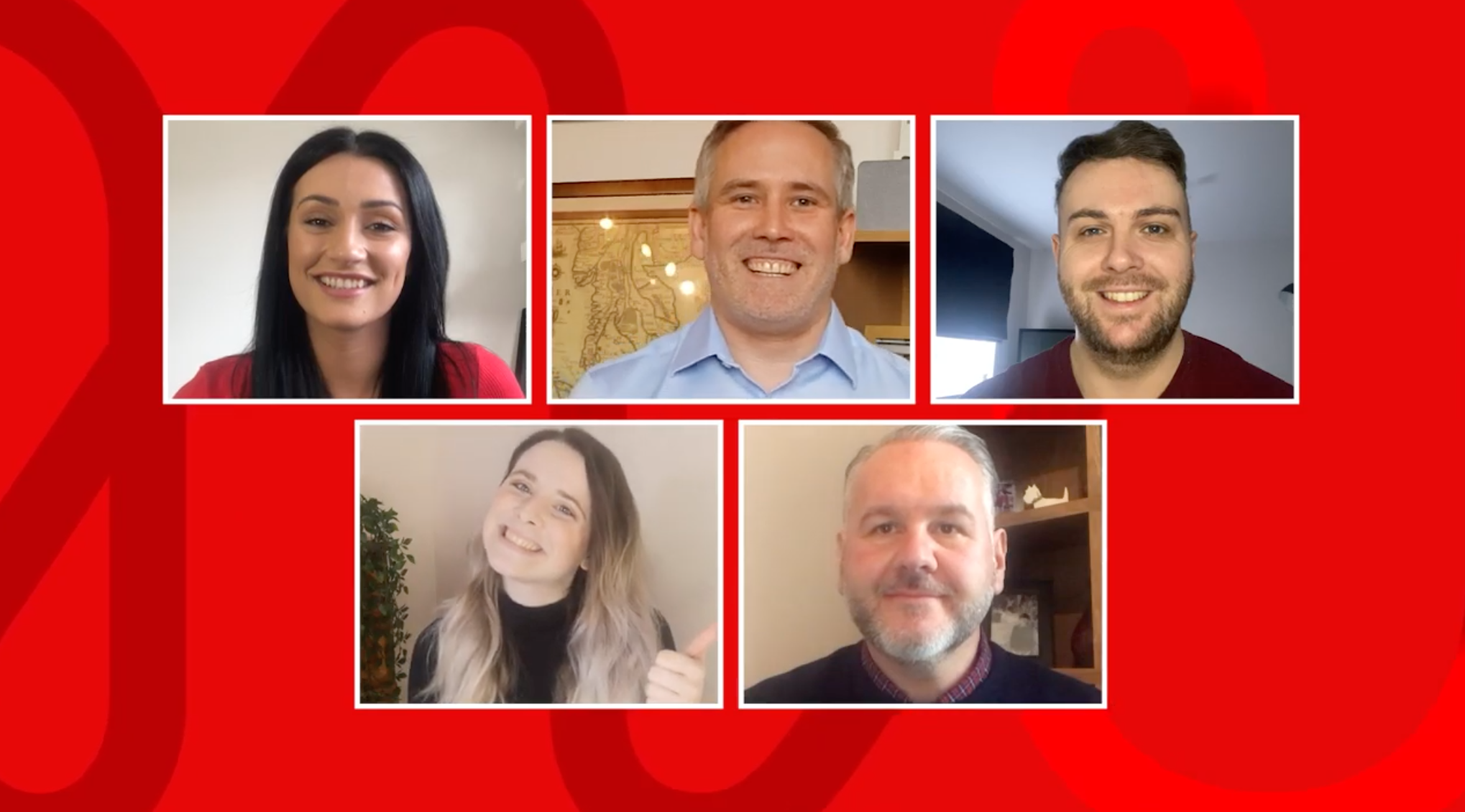 A still from the Virgin Money Red's Youtube channel.  Head shots of the team.