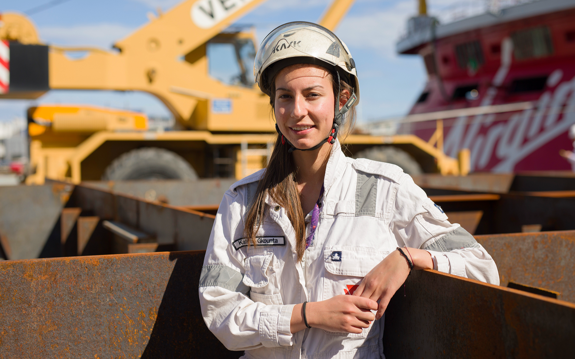 Katerina Gkounta at the Scarlet Lady construction site