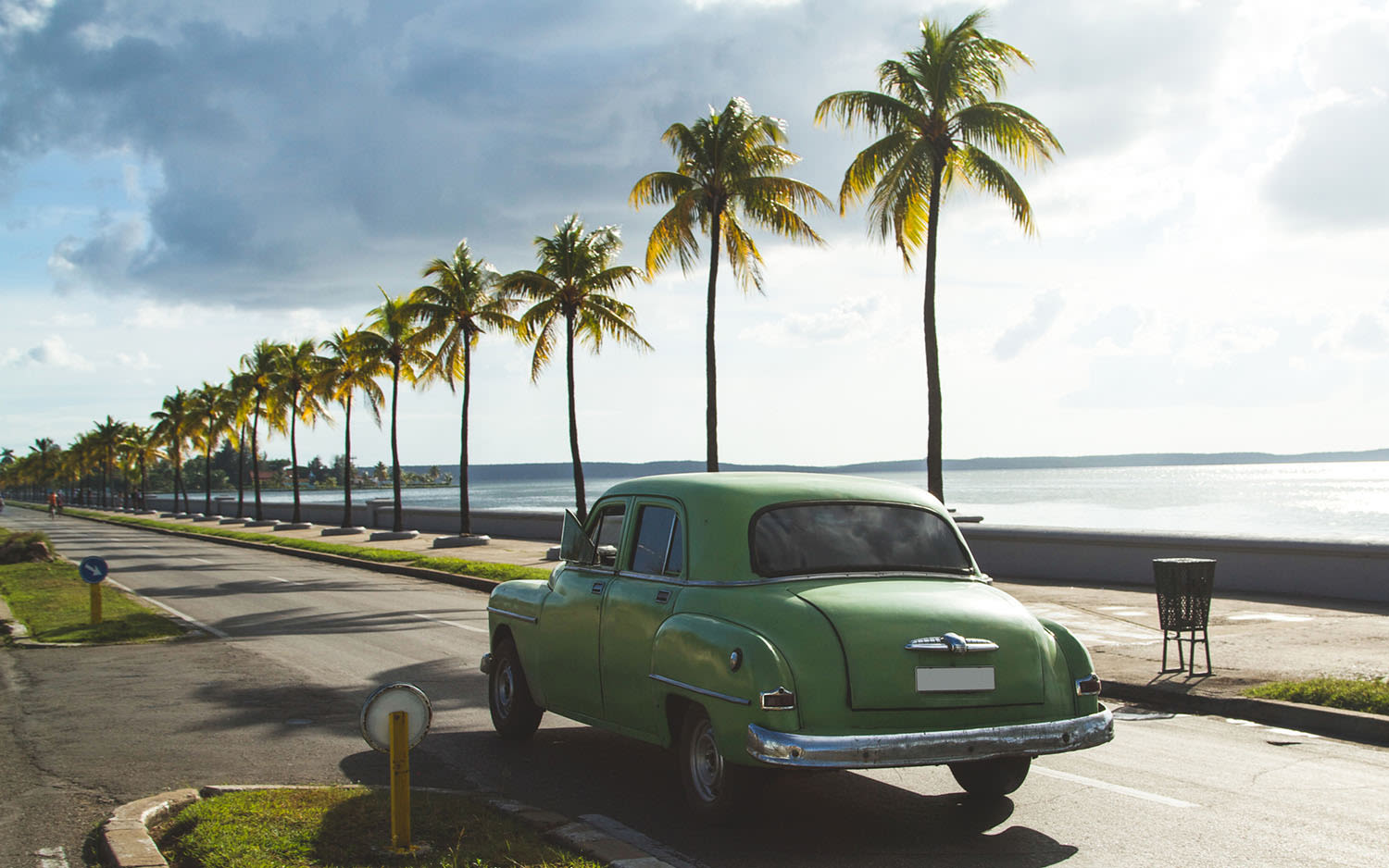 A green classic car drives down a road lined with palm trees next to the beach