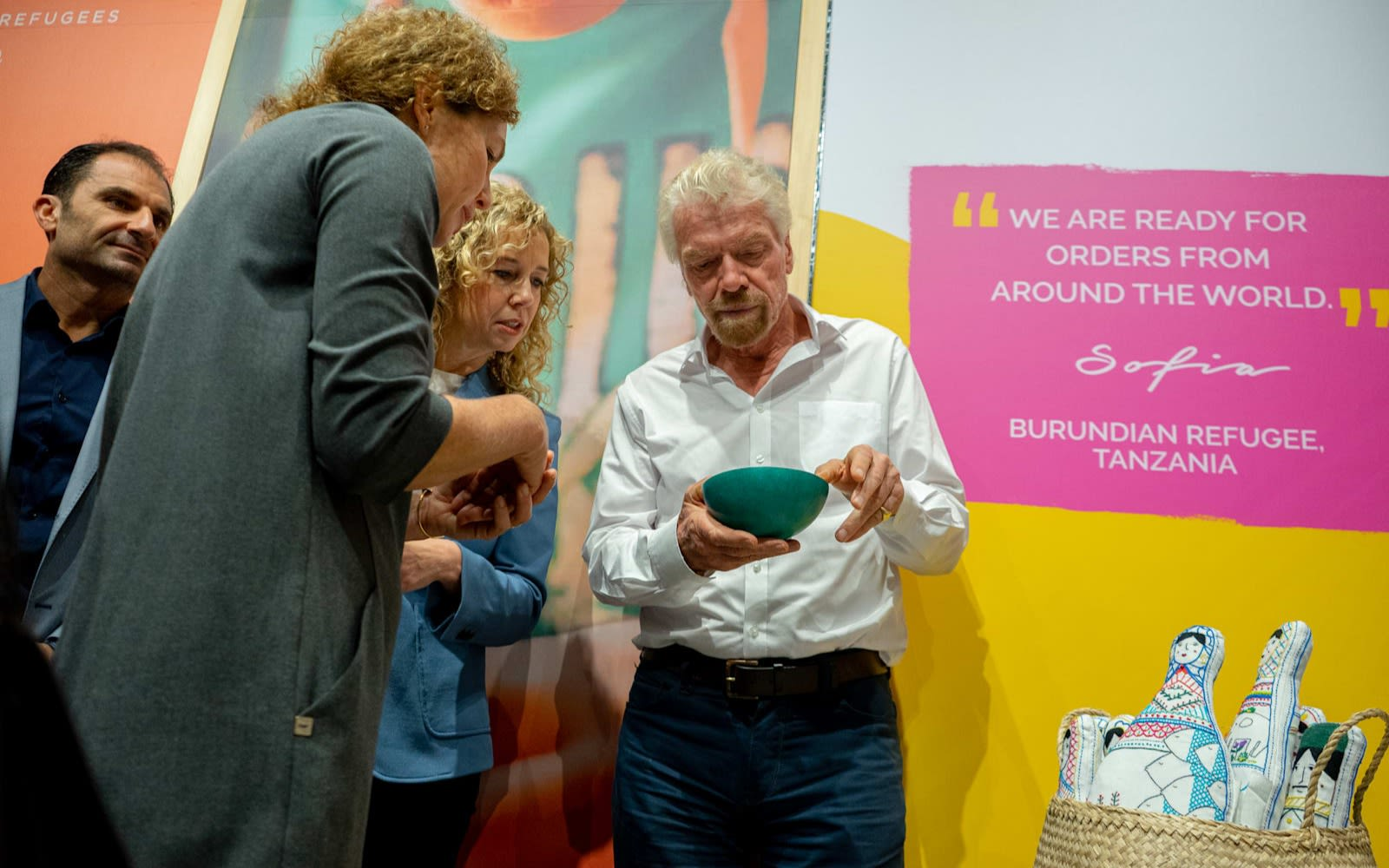 Richard Branson at the M=Virgin Megastore Made 51 pop-up shop to support refugees