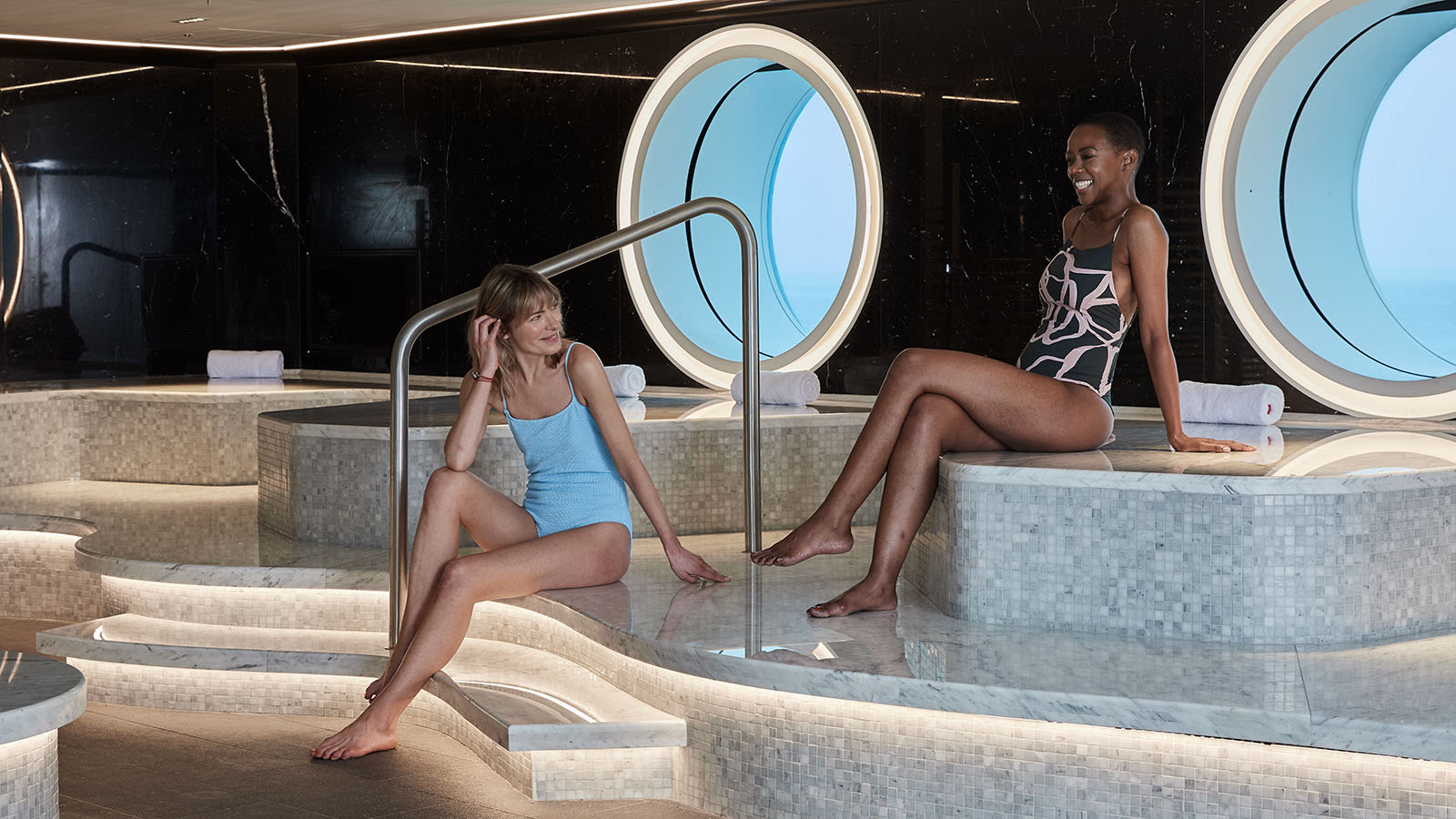 Two women in the spa on Virgin Voyages' ship Scarlet Lady