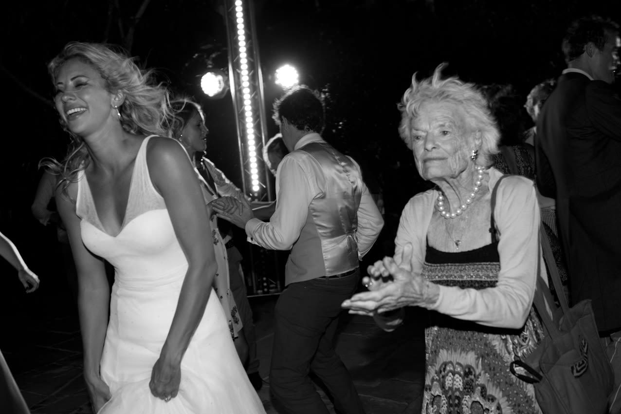 Holly Branson and Eve Branson dancing at Holly's wedding