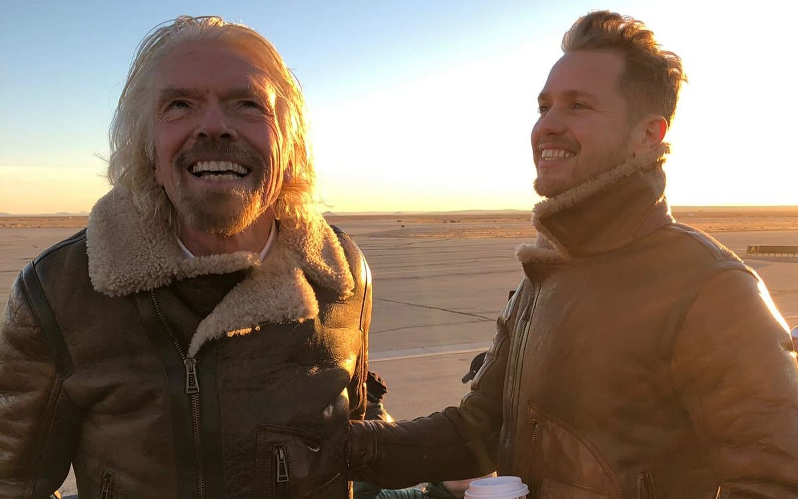 Richard and Sam Branson on the flightline for the first spaceflight