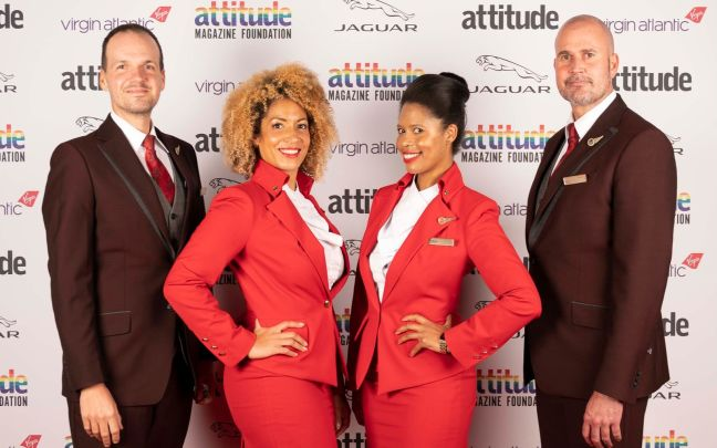 Four Virgin Atlantic cabin crew members at the Virgin Atlantic Attitude Awards 2020