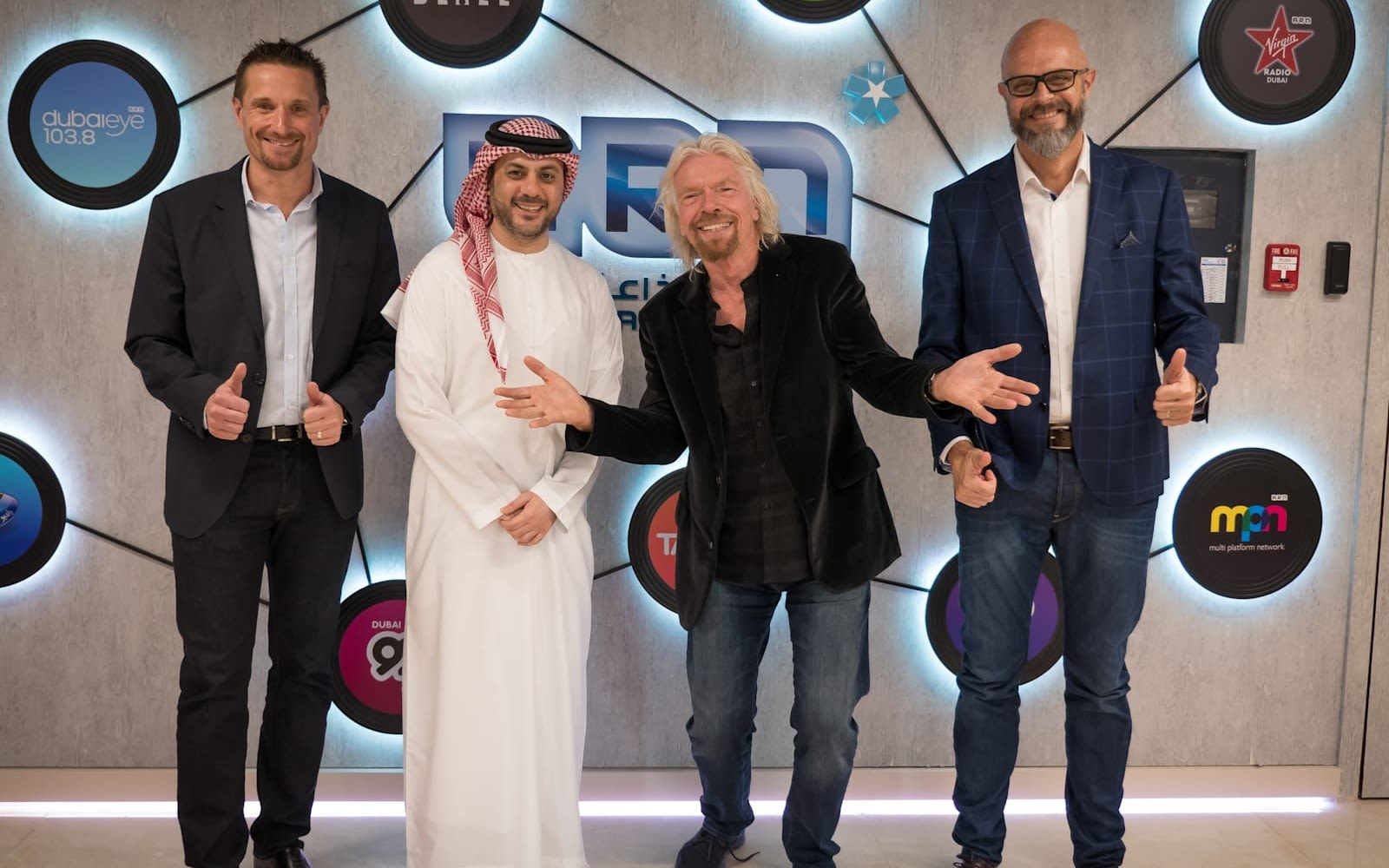 Richard Branson with the Virgin Radio Dubai team
