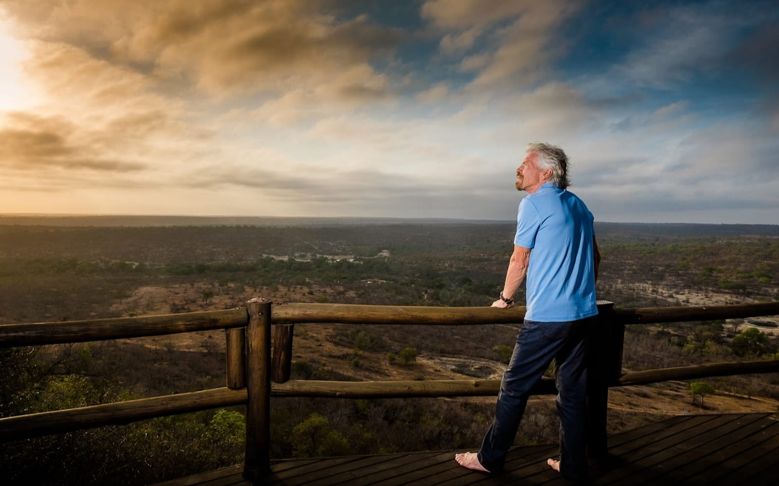 Richard Branson looks at the view at Ulusaba