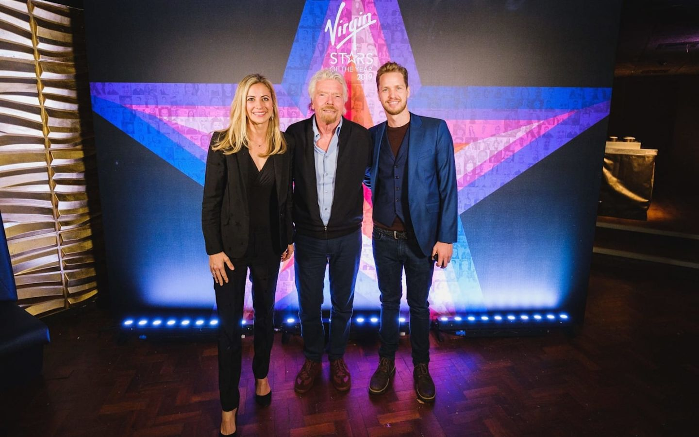 Richard with Holly and Sam at Virgin Stars event