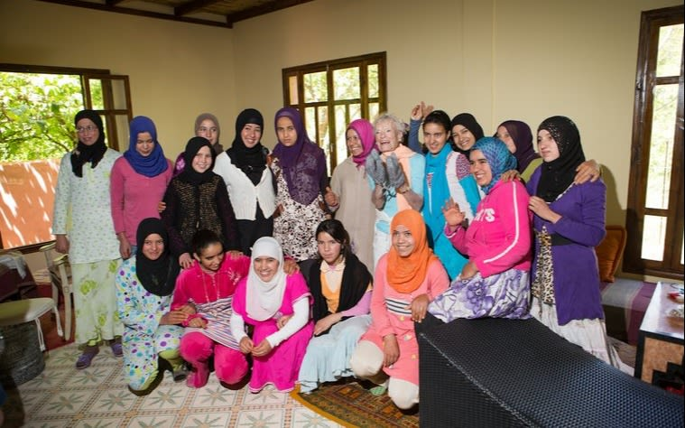 Eve Branson with her team of women in Morocco