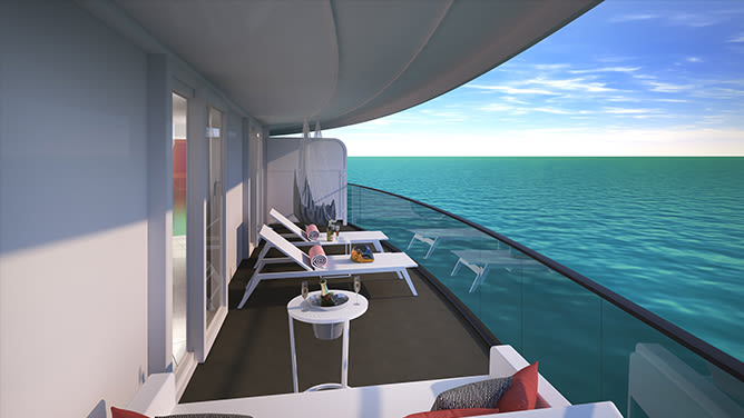 The balcony of the corner suite terrace on board Virgin Voyages