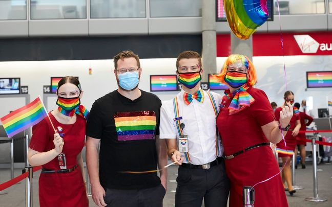 Virgin Australia passengers and crew prepare for the Pride Flight