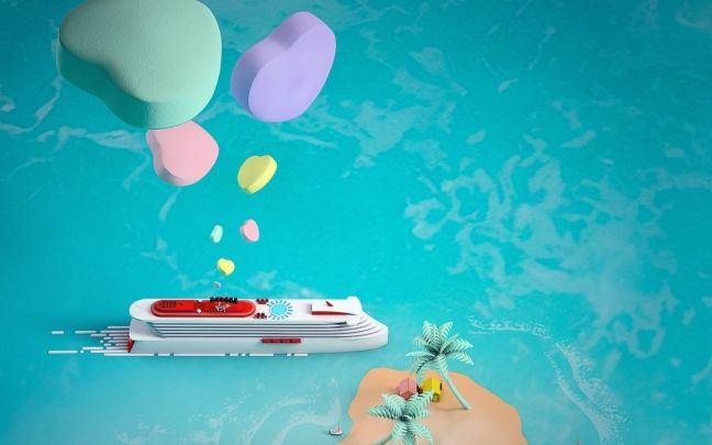 Graphic showing Virgin Voyages' ship near an island with love hearts floating above it