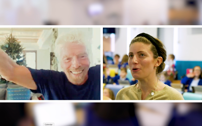 Richard Branson surprising a classroom of students