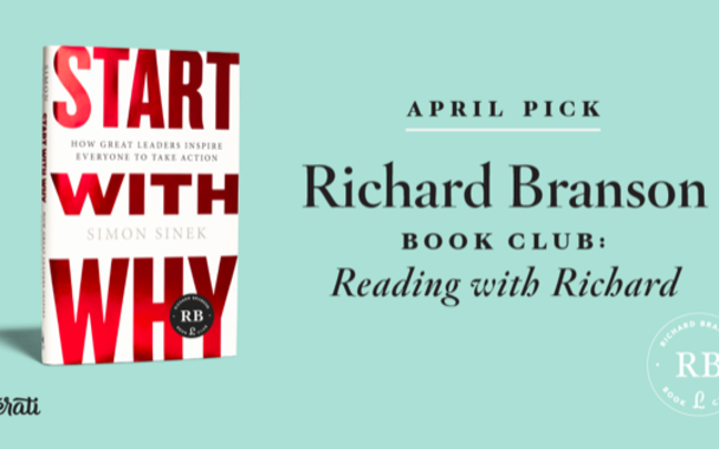 Start Why With by Simon Sinek - poster for Richard Branson's Literati Book Club