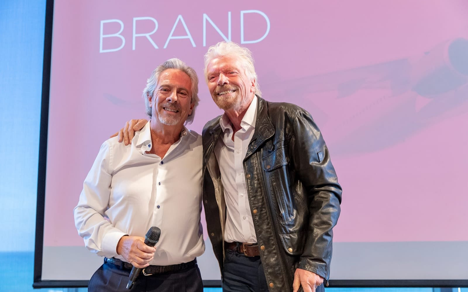Richard Branson with a future astronaut at Pitch to Rich in Tel Aviv