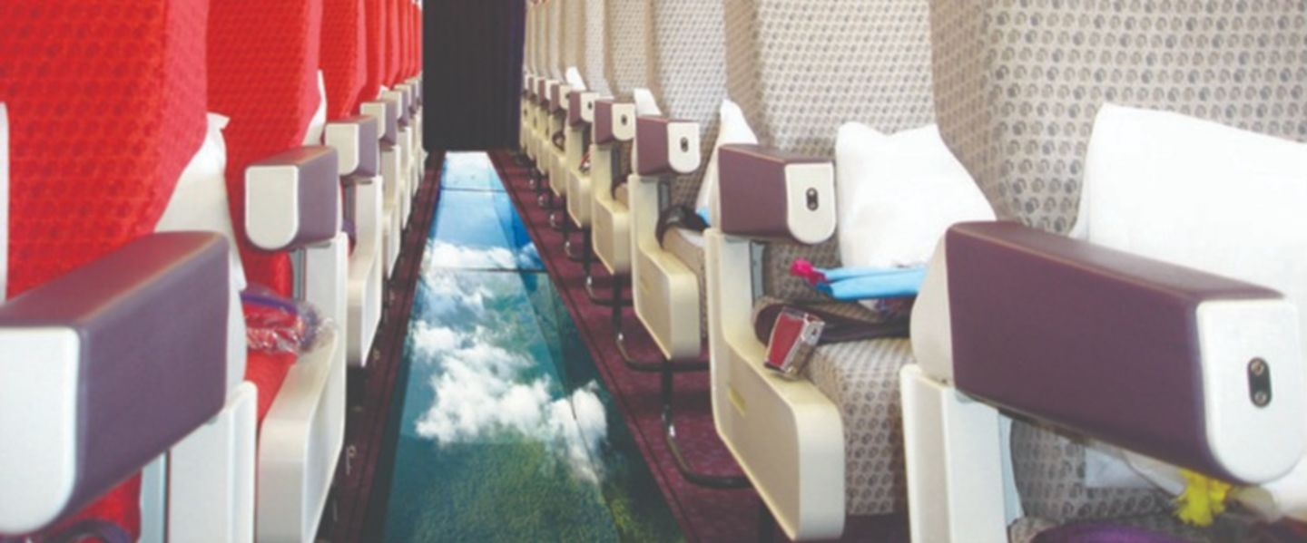 Inside Virgin Atlantic's glass bottom plane
