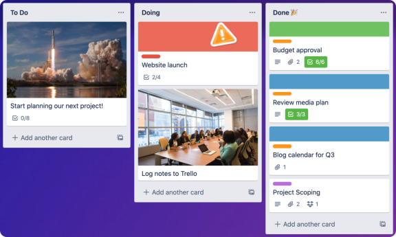 Trello board Screenshot
